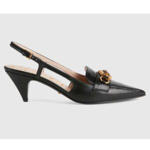 Gucci GG Women Pump with Bamboo Horsebit Black Leather
