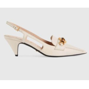 Gucci GG Women Pump with Bamboo Horsebit White Leather