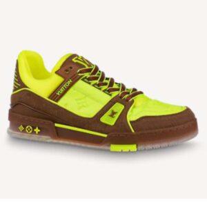 Louis Vuitton LV Unisex LV Trainer Sneaker Yellow Monogram-Embossed Nubuck Calf Leather