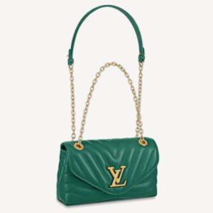 Louis Vuitton LV Women Chain Bag Handbag Emerald Green Smooth Cowhide Leather