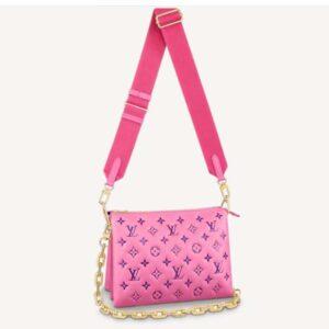 Louis Vuitton LV Women Cruissin PM Handbag Pink Purple Monogram Embossed Puffy Lambskin