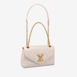 Louis Vuitton LV Women New Wave Chain Bag Handbag White Smooth Cowhide Leather