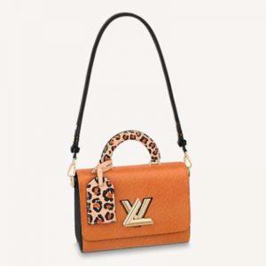 Louis Vuitton LV Women Twist MM Handbag Gold Cipango Epi Grained