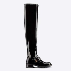Dior Women Shoes D-Doll Thigh Boot Black Crinkled and Stretch Patent Calfskin