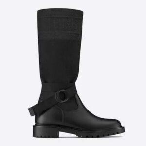Dior Women Shoes D-Major Boot Black Technical Fabric and Calfskin