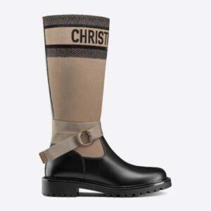 Dior Women Shoes D-Major Boot Taupe Black Technical Fabric Black Calfskin
