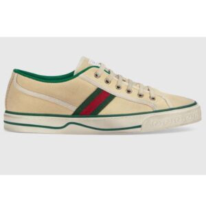 Gucci GG Unisex Gucci Tennis 1977 Sneaker Butter cotton Green and Red Web