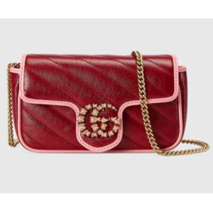 Gucci Unisex GG Marmont Super Mini Bag Dark Red Diagonal Matelassé Leather