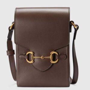 Gucci Unisex Gucci Horsebit 1955 Mini Bag Brown Leather Gold-Toned Hardware