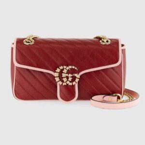 Gucci Women GG Marmont Small Shoulder Bag Dark Red Diagonal Matelassé Leather