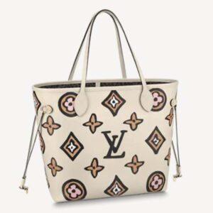 Louis Vuitton LV Women Neverfull MM Tote Cream Monogram Coated Canvas