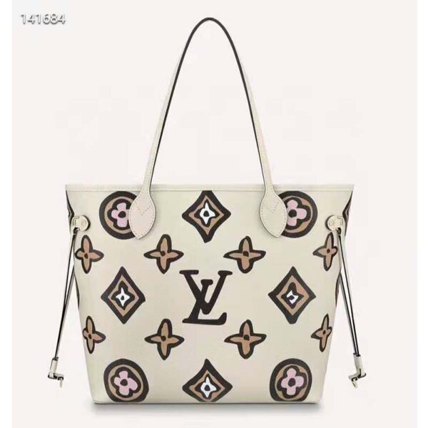 Louis Vuitton LV Women Neverfull MM Tote Cream Monogram Coated Canvas Cowhide Leather