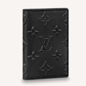 Louis Vuitton Unisex Pocket Organizer Slender Black Monogram Seal Cowhide Leather