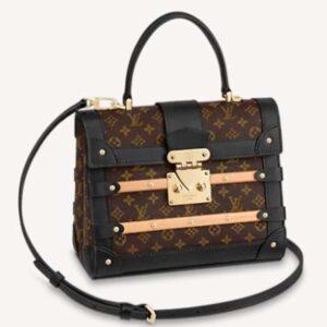 Louis Vuitton Unisex Trianon PM Handbag Monogram Coated Canvas Calfskin Leather Wood