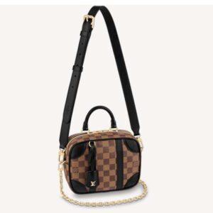 Louis Vuitton Unisex Valisette Souple BB Handbag Black Damier Ebene Coated Canvas