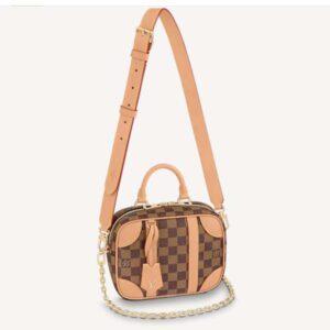Louis Vuitton Unisex Valisette Souple BB Handbag Natural Beige Damier Ebene Coated Canvas